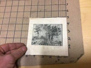 original ALDEN WHITE Signed Etching -- Landscape w/ info on back