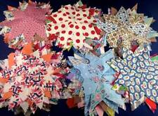 15 Vtg Quilt Blocks Lemoyne Stars Cotton Handstitched Job Lot Bundle Americana