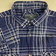 Brunswick Button Up Shirt Mens Small Blue Long Sleeve Cotton Plaid Casual Shirt