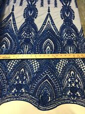 Beaded Royal Blue Fabric Embroidered Lace Pearls On A Mesh Bridal/Wedding 1 Yard