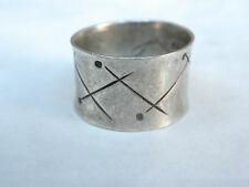 vintage modernist MEXICAN STERLING SILVER BAND RING size 7 ''CVC' eagle 1