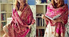 Double Side Reversible Elegant Rose Red Women's 100% Pashmina Floral Scarf Wrap