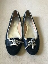 TODS Navy/Silver Tie Front Ballet Flats 39