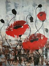 An Impressionist acrylic Knife painting of Poppies by Susan  Gaunt