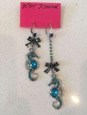NWT Rare Betsey Johnson Blue Turquoise Mismatch Seahorse Bows Dangle Earrings