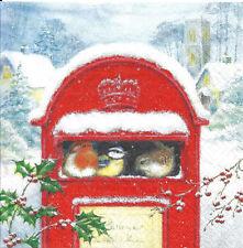Lot de 4 Serviettes en papier Boite à lettres Oiseaux Noël Decoupage Collage