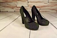 Steve Madden Sarrina Womens Platform Pumps  Sz 7.5 M Black Suede High Heel Shoes