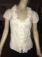 Moschino 100% Cotton Fitted Short Sleeve Button Down Blouse S Ret $295