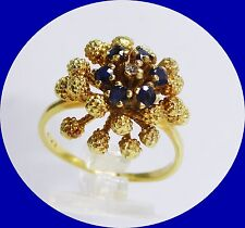 UNIQUE 14K YELLOW GOLD SAPPHIRE RING - SIZE 8.25