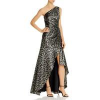Aidan Mattox Womens Metallic One Shoulder Evening Dress Gown BHFO 0846