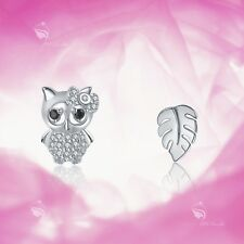 925 Silver Earrings Simulated Diamond Owl Tree Leaf Stud for Kids Baby