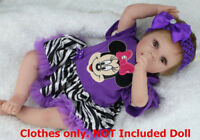Reborn Baby Girl Clothes for 20''-22'' , Dress + Headdress, NOT Included Doll