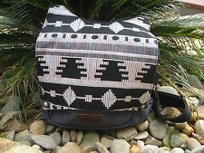 Charcoal Grey Tribal Hippie Bohemian Surf Retro Funky Denim Bag/Backpack