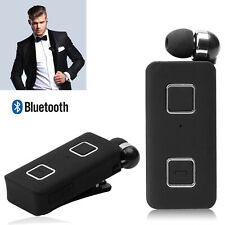 Cordless Retractable Bluetooth Headset HD Stereo Headphone Noise Cancelling Mic