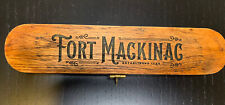 Antique Fort Mackinac Turned Wood Inkwell Ink Dip Quill Desk Writing Pen w/ Box