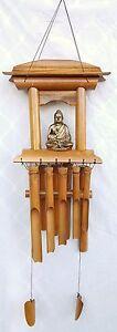 WIND CHIME Lg Feng Shui THAI BUDDHA Bamboo Pagoda Hand Made Windchime