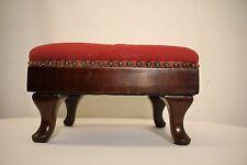 19th century French Louis Xv mahogany footstool footrest , original needlepoint