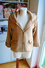 Axes Femme mori girl beige faux fur lace victorianbig collar jacket UK12