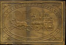 """Brass plaque : New York City Fire Department : illustrated : 4"""" x 2 3/4"""""""