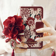 Luxury Rose Bling Pearl Flower Flip Leather Wallet Card Holder Purse Case Cover