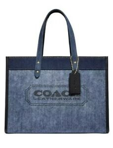❤️ Coach Branded Denim & Leather Field Denim/Gold Tote In Original Packaging