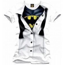 T-SHIRT Batman Suit Blouse TShirt Bruce Wayne Shirt White 100% ORIGINALE