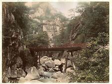 c1880s, Sengabashi Mitake BRIDGE at Koshiw, japan, original ALBUMEN photograph!