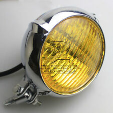 Polished Vintage Bates Style Head Light Lamp for Bobber Chopper Softail Glide