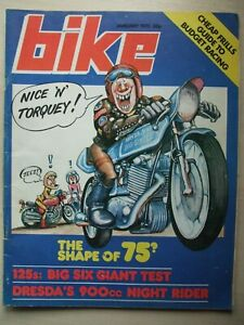 VINTAGE BIKE MAGAZINE JANUARY 1975 Dresda's 900cc Night Rider. 125cc Test