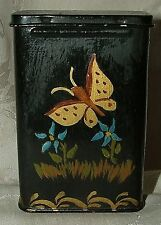 Antique Tin Toleware Cigarette Box Hand Painted Butterfly Flowers Signed MEW