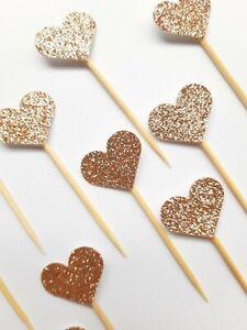 ROSE GOLD GLITTER HEART CUPCAKE CAKE TOPPER PICKS - 12PK