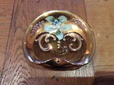 ITALIAN ART GLASS Salt Cellar Table Salt  STUNNING Hand Painted SHELL SHAPED