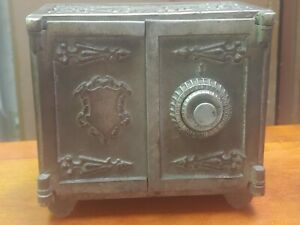 Antique Cast Iron Double Door Medallion Safe Bank With Combination!!! NICE!!!