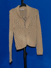 ~BEIGE LACE PATTERNED COLLARED LONG SLEEVE CARDIGAN WITH TIE FASTENING~SIZE 16~