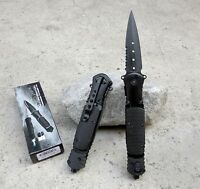 Black LED Light Stiletto Blade Spring Assisted Folding Pocket Knife Serrated