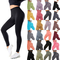 Women High Waist Yoga Pants Push Up Ruched Leggings Butt Lift Sport Gym Trousers