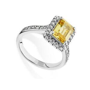 Citrine Halo Engagement Ring 925 Hallmark Rhodium Finish Size J - R British Made