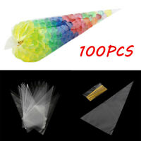 100X Clear Triangle Candy Bag Plastic Food Popcorn Bags Xmas Party Tool New QP
