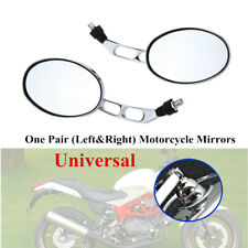 Pair Universal Aluminum Oval Chrome 10mm Motorcycle Bikes Rear View Side Mirrors