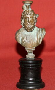 Vintage Handcrafted Male Bust Small Bronze Sculpture