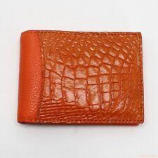 Genuine Crocodile Leather Skin Men's Money Clip Bifold Wallet - Orange