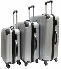 New Silver 4Wheels Spinner Hardcase ABS Luggage Suitcase Cabin Case 3 sizes