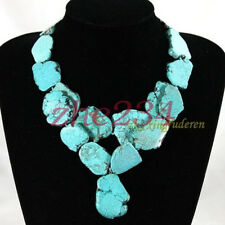 Huge Turquoise necklace irregular stone Bib  double-deck women's jewelry