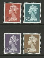 GB 1999~2000 Machin Stamps~£1.50~£5~4 Values~Unmounted Mint ~SG Y1800-Y1803~A~UK
