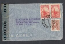 ARGENTINA 1944 WWII CENSORED AIRMAIL COVER BUENOS AIRES TO CHICAGO ILLINOIS USA