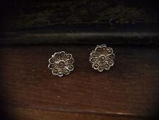Vintage Marcasite Flower Stud Pierced Earrings