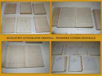 MANUSCRIT AUTOGRAPHE ORIGINAL - PREMIÈRE GUERRE MONDIALE 1914-1918 - 1360 PAGES