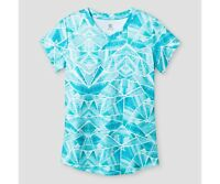 c9 by Champion Girls V-neck Printed Tech T-shirt Turquoise Blue XS 4-5