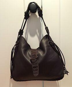 Carrie Forbes Dark Brown Crochet  Leather Handbag Handmade in Italy Deer Skin