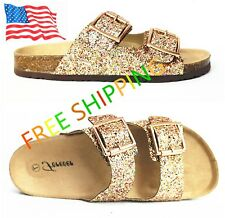 FOREVER Link BIRKEN Womens Glitter Thong Slip On Casual Slide Flip Flop Sandals